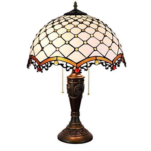 BJLWTQ Granos Amarillos Mesa lámpara de Sombra de 16 Pulgadas del Estilo del vitral de Cubierta Habitación (40 cm) Vida de la lámpara lámpara de cabecera