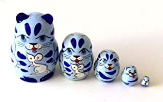 Blue Cat with Mouse MINI nesting dolls Russian Hand Carved Hand Painted 5 piece matryoshka Set by BuyRussianGifts