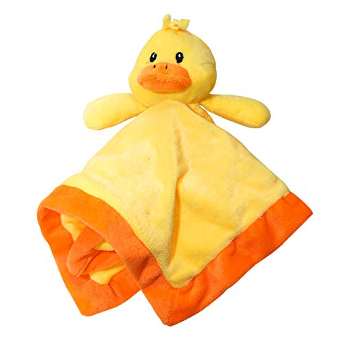 Lovey Security Blanket 12 inch Square Stuffed Animal Baby Blankie for Girls or Boys (Duck) by Baberoo