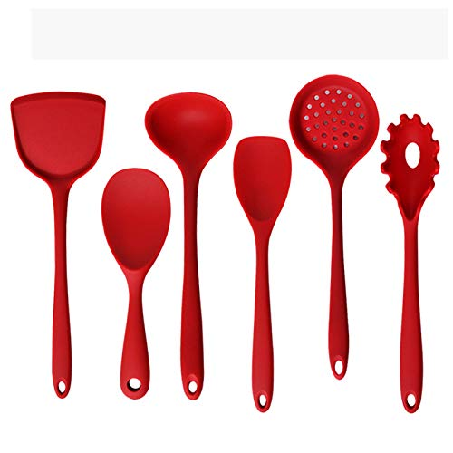 Ensemble D'ustensiles de Cuisine en Silicone de 6 Pièces, Ustensiles de Cuisine Spatules en Silicone Résistant à la Chaleur Spatule Cuisine Kit d'Accessoires