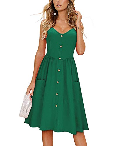 KILIG Women's Summer Dress Spaghetti Strap Button...