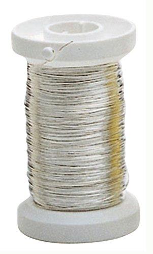 Glorex 6 2220 108 - Silberdraht mit Kupferkern versilbert, 0,25 mm x 40 m auf einer Kunststoffspule gewickelt, ideal zum Basteln oder für floristische Kreationen als Bindedraht
