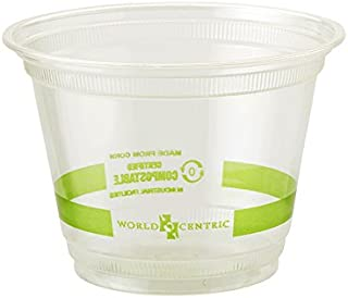World Centric's 100% Biodegradable, 100% Compostable 9 Ounce Squat Corn PLA Cold Cup (Package of 200)