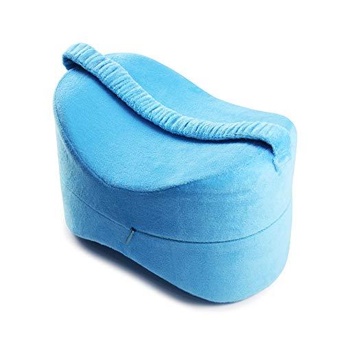 Muzboo Almohada de rodilla para dormir de lado, almohadas de espuma para piernas con funda extraíble, diseño ergonómico para aliviar el dolor y mejorar la calidad del sueño.