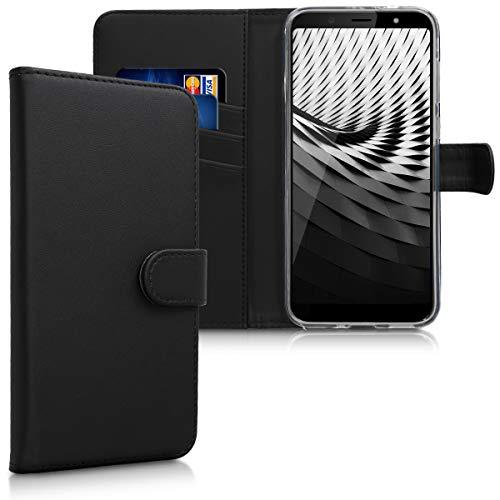 kwmobile Wallet Case kompatibel mit HTC U12 Life - Hülle Kunstleder mit Kartenfächern Stand in Schwarz