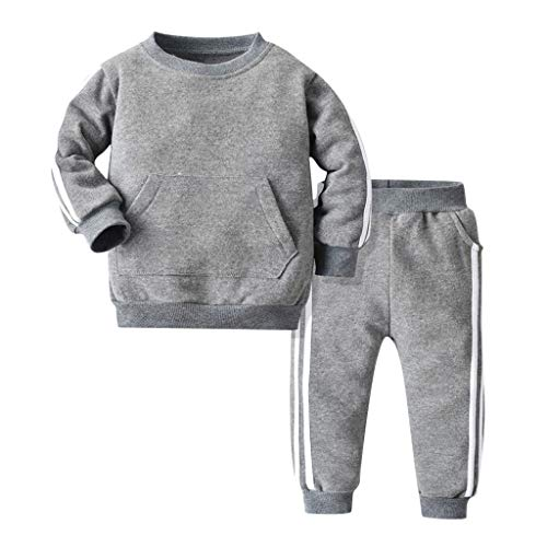Robemon Vêtement Bébé Enfant Garçon Fille Lettre Capuche Swear-Shirt Tops + Pantalon Vêtements Ensemble Bébé Cadeaux Tenues 0.5-3Ans (Z-Gris, 110/3Ans)