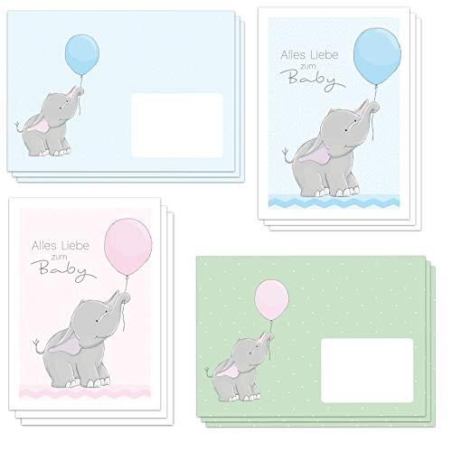 6 niedliche Glückwunschkarten zur Geburt