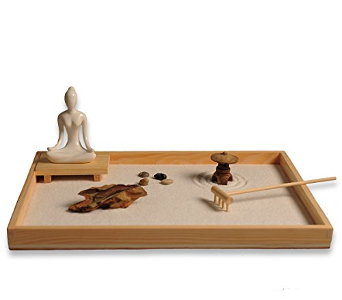 ICNBUYS Zen Garden with Buddha Status Wooden Rake Rocks and Mini Pavilion Set with Free Rake and Pushing Sand Pen Base Tray Dimensions 11.8 x 8.7 x 1 inches
