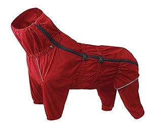 Manteau imperméable pour chien avec col haut imperméable pour chien réfléchissant à quatre jambes Combinaison pour chiots de petite taille moyenne - Rouge - Xlarge MZ-0597