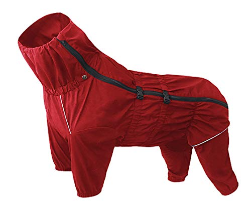 Morezi Hunderegenmantel mit hohem Kragen wasserdichter Regenmantel für Hunde reflektierende Vierbein-Regenkleidung Jumpsuit für Welpen kleine mittelgroße Haustiere - Rot - XXXL