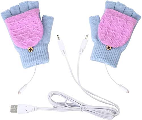 uantes con calefacción USB para mujeres, niñas, invierno, cálido, medio dedo, calentador...