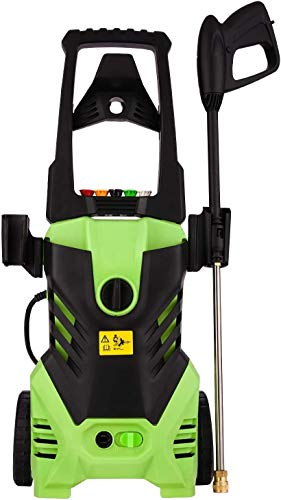 Homdox 3000PSI Electric Pressure Power Washer 1.8GPM High Pressure Power Washer 1800W Machine Cleaner with Hose Reel, 5 Nozzles (Green)