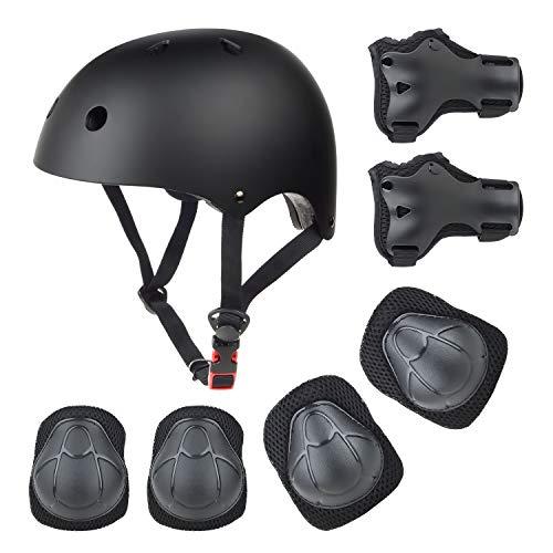 Wayin Casco Bici Protezioni Set per Bambini Regolabile Gomitiere Polso Ginocchiere per Skateboard Pattini in Linea Bicicletta Protezione Bambina (Nero)