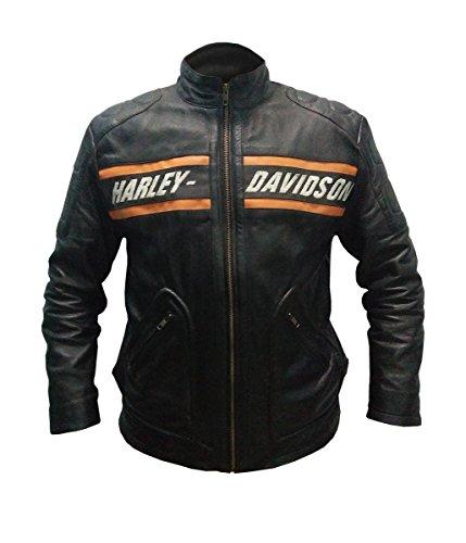 Leatherly Veste Homme Bill Goldberg Noir Style motard Moto Veste de Cuir- Parfait pour l'hiver- M