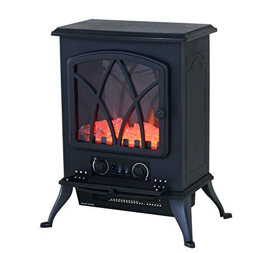 HOMCOM Chimenea Eléctrica Móvil Tipo Estufa de Pie con Efecto de Leña Ardiendo Calefactor 1000W/2000W 45x28,5x54cm Color Negro