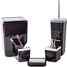 HOLDN' STORAGE Bathroom Accessories Set – 5 Piece,Black Elegant and Highly Durable Decor, Bath & Home Accessory Set, Soap Dish, Soap Dispenser, Toilet Brush, Toothbrush Holder & Trash Can