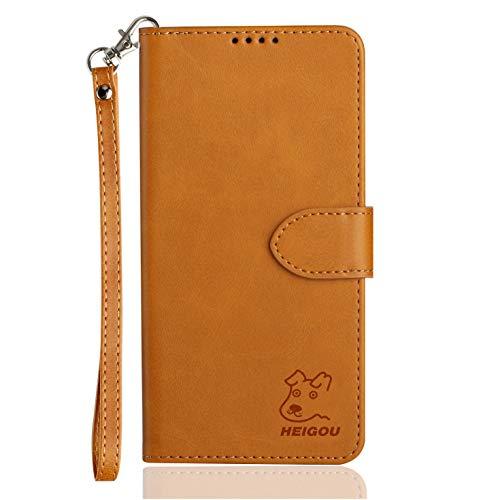 HEIGOU Schutzhülle für bq Aquaris U2/bq Aquaris U2 Lite, Premium PU Brieftasche Schutzhülle aus Leder mit Kartenfächern & integriertem Magnetverschluss – Hellbraun