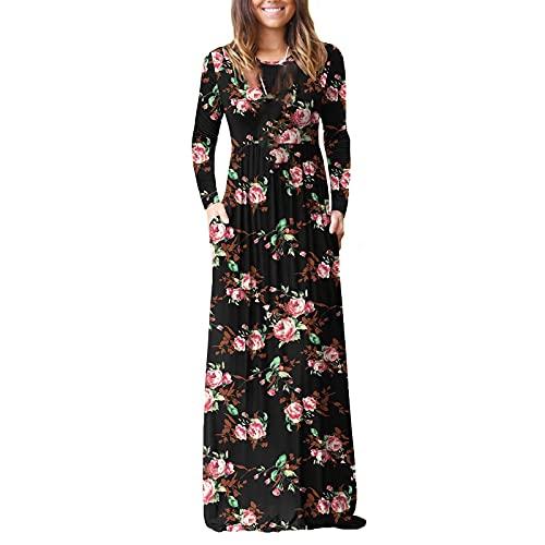 Vestido largo para mujer con estampado degradado, color que bloquea las mangas largas, cuello en O con bolsillos hasta el suelo, vestidos largos de espagueti, Vino, M