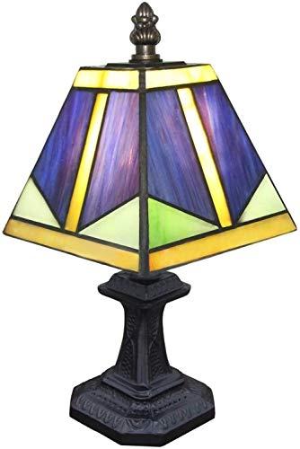 Lámpara de mesa de dormitorio de cristal azul lámpara de mesa de estudio base de resina y pantalla de cristal para dormitorio