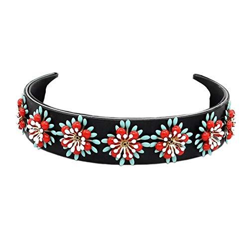 RQZQ halsketting zwart leer wrap legering torque bloem choker halsketting dames mode lange ketting halsband statement halsketting