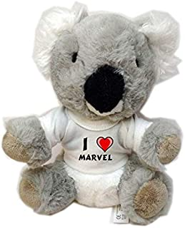 Koala personalizada de peluche (juguete) con Amo Marvel en la camiseta (nombre de pila/apellido/apodo)