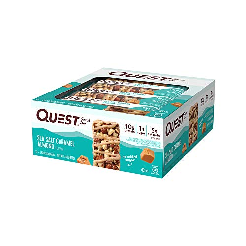 Qu   est Nutrition Sea Salt Caramel Almond Snack Bar, High Protein, Low Carb, Gluten Free, Keto Friendly, 12-Count