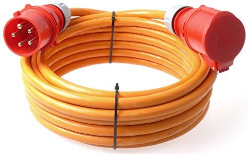 netbote24® CEE Starkstromkabel Verlängerungskabel Pur Leitung H07BQ-F 32A 400V 5g6 5x6 mm² 10m Orange