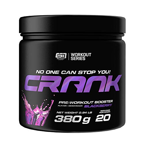 ESN Crank – 380g – Blackberry – 20 Portionen – kompletter Pre Workout Booster – Sport, Fitness, Bodybuilding – Vegan – Made in Germany