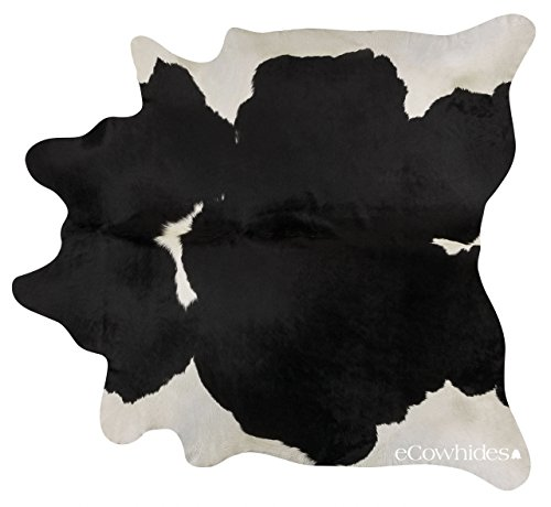eCowhides Black and White Brazilian Cowhide Area Rug, Cowskin Leather Hide...