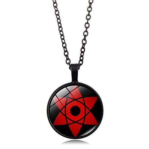 Saicowordist Naruto Collar Sharingan Print Cristal Colgante Aleación Cadena Collar Anime Cosplay Accesorios (Estilo 03)