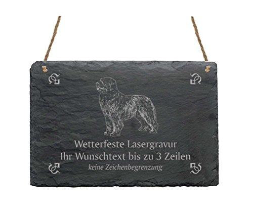 Schiefertafel « NEUFUNDLÄNDER » IHR TEXT + MOTIV - 22 x 16 cm - Schild mit Hund - Newfoundland