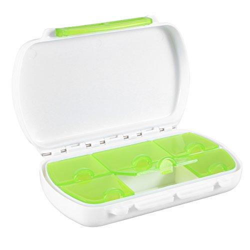 Contenitore pillole ROSENICE Porta Pillole 6 scomparti tascabile (Verde)