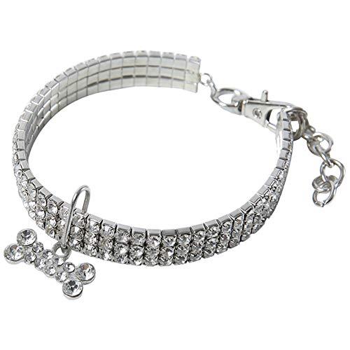 Zonfer Welpen-hundehalsbänder Einstellbare Bling Strass Leine Halsband Für Small Medium Hunde Accessoires
