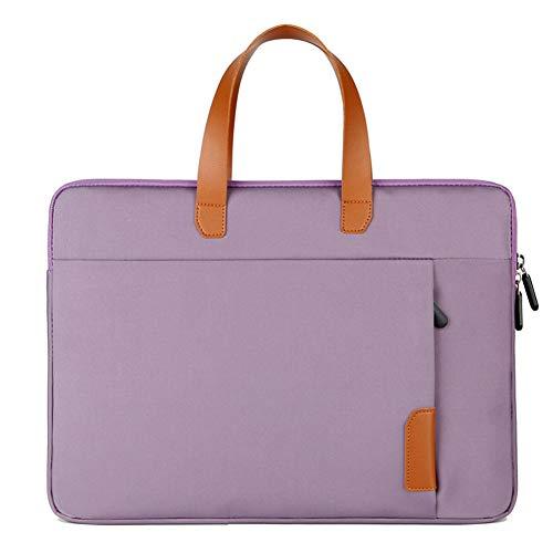 SODIAL Laptop Bag 15 Inch Multifunctional Waterproof Laptop Protective Cover Handbag Business Trip Computer Bag Purple