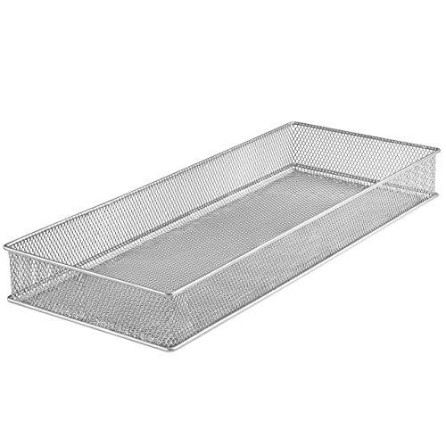 Ybm Home Silver Mesh Drawer Cabinet and or Shelf Organizer Bins, School Supply Holder Office Desktop Organizer Basket 1611s (1, 6x15x2 Inch)