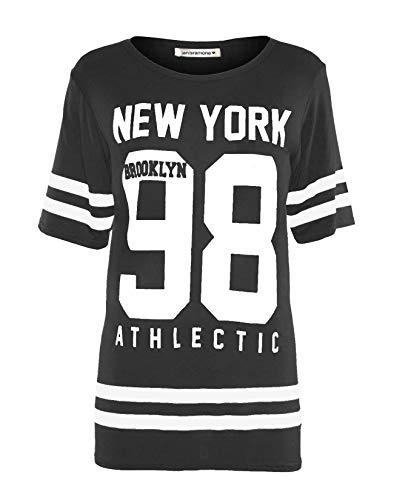 Janisramone Femmes Dames Nouveau Base-Ball New York 98 Brooklyn Rayure Imprimer Surdimensionné Bouffant T-Shirt...