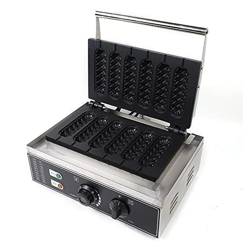 Gofrera de acero inoxidable, 6 gofres, gofrera comercial con temporizador, placas antiadherentes, 1500 W, 220 V