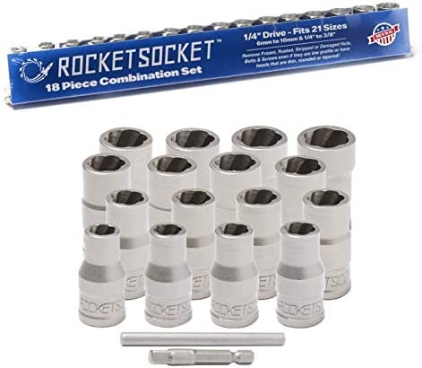 ROCKETSOCKET 18 Piece with Drive Impact Grade American Drawn Steel Extraction Socket Set Remove product image