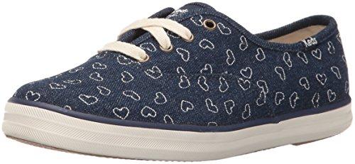 Keds Taylor Swift Damen-Sneaker, Denim, Stickerei, Herzform, Blau (Indigo Denim), 38.5 EU