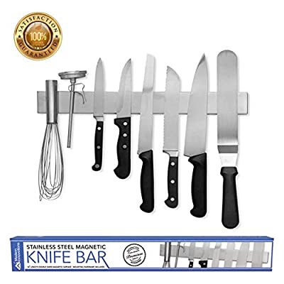 Modern Innovations 16 Inch Stainless Steel Double Sided Magnetic Knife Bar with Multipurpose Use as Wall Mount Knife Holder, Knife Rack, Kitchen Utensil Holder, Magnetic Tool Holder