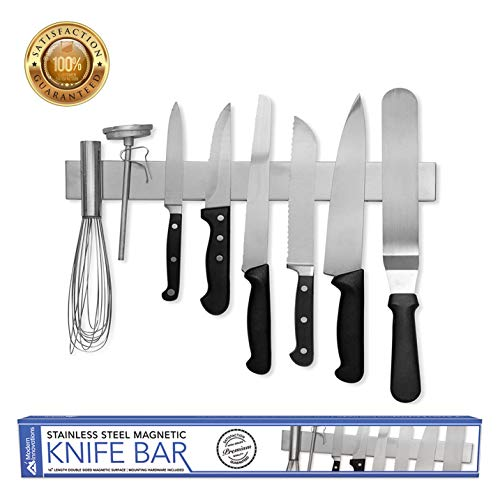 Modern Innovations 16 Inch Stainless Steel Double Sided Magnetic Knife Bar with Multipurpose Use as Wall Mount Knife Holder Knife Rack Kitchen Utensil Holder Magnetic Tool Holder