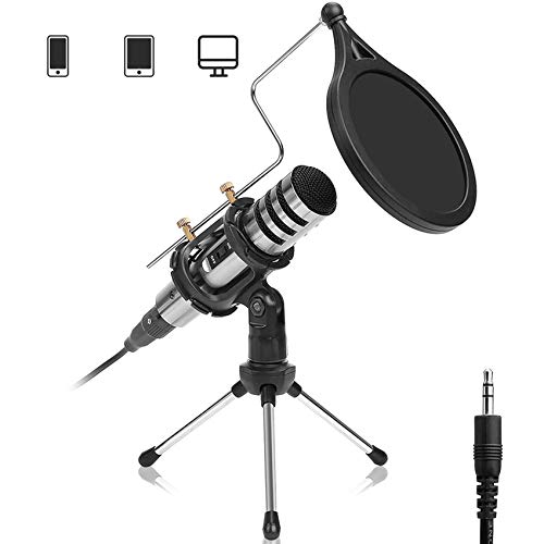DricRoda Microphone for Phone, 3.5mm Recording Microphone Studio Podcast Condenser Microphone Computer Mic with Tripod Stand, Pop Filter for Karaoke, Gaming, Streaming, Conference, YouTube, Facebook