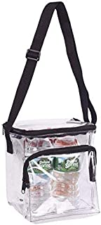 Clear Lunch Bag Stadium Security Approved Clear Lunch Box with Adjustable Strap and Front Zippered Pocket Thick, Easy to Clean and Water Resistant Tote Bag Great for Men, Women, Kids
