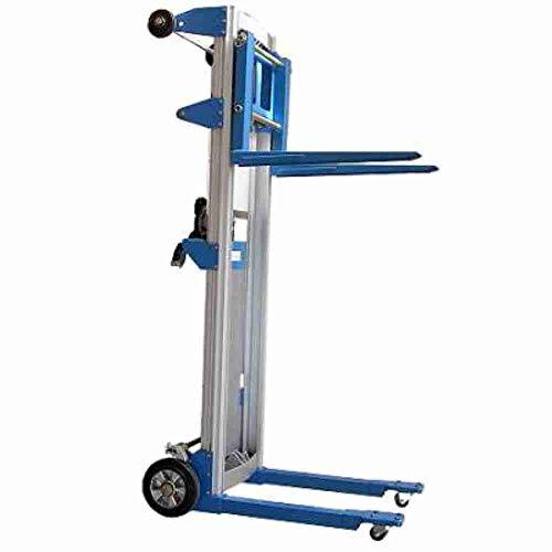 Sollevatore leggero in alluminio carrello telescopico elevatore idraulico a colonna a trazione e sollevamento manuale mm.1250 portata Kg.227 per movimentazione carichi per magazzino Mod. N1/SPCF