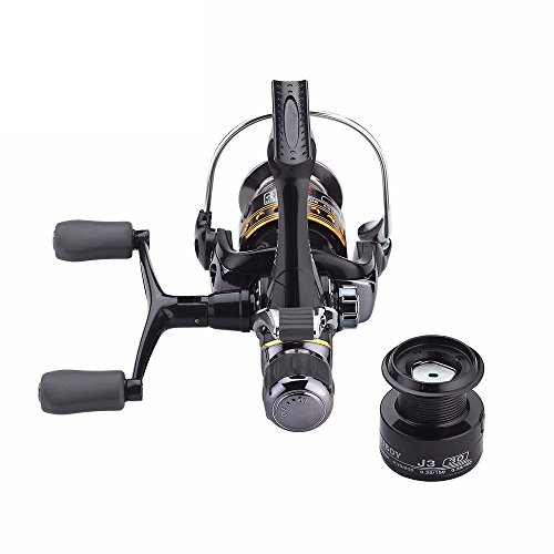 Spincasting Fishing Reels Carbon Fiber Front and Rear Drags J3FR Double Rocker Metal Spinning Wheel with a Free Spare Spool (J3-50FR)