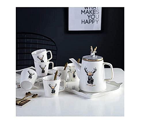 Juego de sake Japonés, exquisito juego de té europeo Juego de café con agua Sala de estar de cerámica con bandeja, tetera resistente al calor caliente y fría disponible para el hogar (Color: ciervo si