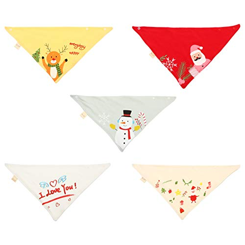 TOYANDONA 5pcs Christmas Baby Cotton Bandanas Teething Feeding Bibs with Snowman Santa Reindeer Pattern Nursery Burp Cloth for Drooling and Teething