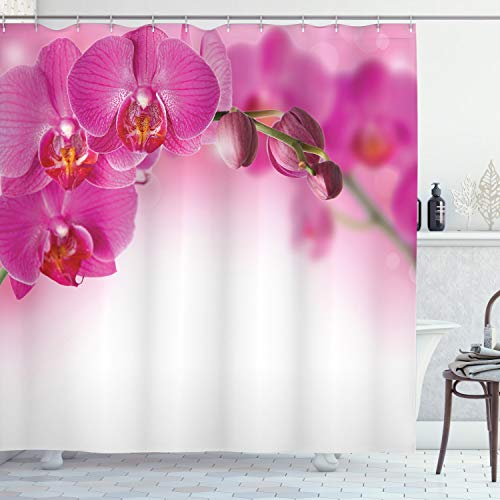 ABAKUHAUS Spa Duschvorhang, Exotische Orchidee Feng Shui, mit 12 Ringe Set Wasserdicht Stielvoll Modern Farbfest & Schimmel Resistent, 175x200 cm, Mehrfarbig