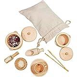 Kinderküchen Rollenspiel, Holzgeschirr Spielzeug Küche Geschirr Teetasse Essensspiel Kinderküche Zubehör Geschenk für Kinder Jungen Mädchen