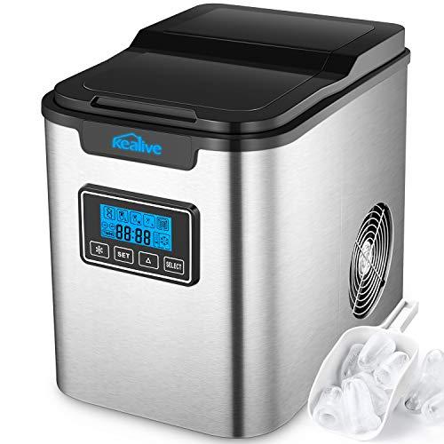 Kealive Eiswürfelmaschine / Edelstahl Eismaschine / 12kg Eis pro Tag / 9 Eiswürfeln in 6-12 Minuten / 3 Eiswürfel-Größen / 2.2L Wassertank / LCD Anzeige / 150 W / Selbstreinigungsfunktion / Ice Maker